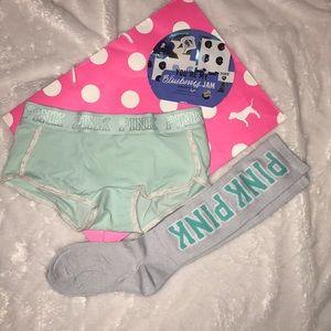 Pink VS boyshorts, knee high socks, face mask
